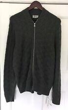 Brand New Mens John Smedley Olive Green Merino Wool Zip-Up Cardigan - XL