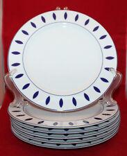 Guzzini Italy Costa Verde Set of 6 Porcalain Dinner Plates White Navy Blue Rare