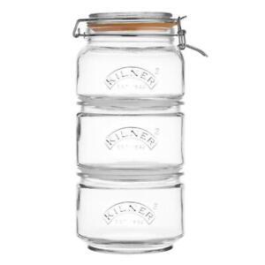 Kilner Stackable Storage Clip and Push Top 3 Jar Set of 3 1 x 0.9L / 2 x 0.88L