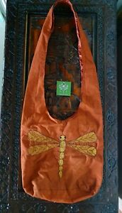 Dragonfly Bohemian Slouch Bag Hippie Boho Burnt Sienna & Gold by GypsyLee Jewels