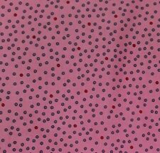 """New 45"""" 100% Cotton, Quilting Treasures, Small Purple & Red Polka Dots, Pink"""