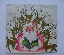 Vintage Christmas Greeting Card 1950s Pink Santa Claus Reindeer Caroling NOEL