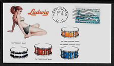1960 Ludwig Drums Pin Up Girl  ad Featured on Collector's Envelope *A442