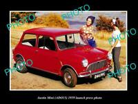 OLD POSTCARD SIZE PHOTO OF 1959 AUSTIN MINI CAR AD015 LAUNCH PRESS PHOTO 2