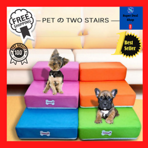 Pet Breathable Mesh Foldable Stairs Detachable Pet Bed Stairs Dog Ramp 2 Steps L