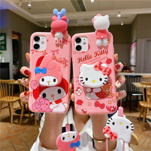 Cute Kitty Cat Bunny Cartoon Soft Case Cover for Samsung Galaxy Kickstand &Strap