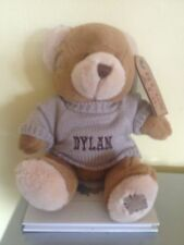 Personalised 30cms Bear embroidered t shirt or jumper ANY NAME newborn gift