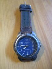 COLEMAN MENS SPORT WATCH PC-32 BLUE FACE W/ LEATHER STRAP Needs Battery