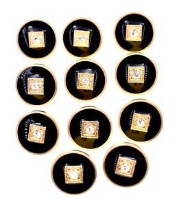 """Black Crystal Eye Buttons,Gold accents,Plastic,Vintage, (0.6"""") 11x"""