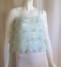 TRINA TURK White Blue Dot Print Tiered Ruffle Camisole Tank Top Blouse Small