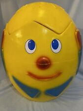 Vintage HUMPTY DUMPTY Large Toy Box Wonder Products Yellow Plastic Blow Mold