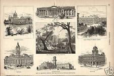 Melbourne Australia City Views Harper's Weekly Original 1885 Antique Art Print