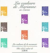 STAMP / TIMBRE FRANCE NEUF BLOC N° 44 ** LES COULEURS DE MARIANNES EN EUROS