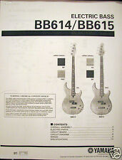 Yamaha BB614 BB615 4 and 5 String Bass Guitar Service Manual and Parts List