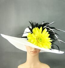 NWT Kentucky Derby WHITE Hat Womens Feather Wide Brim Dress Wedding Tea Party US