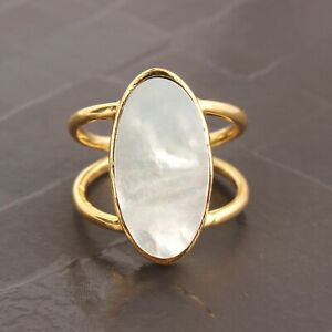 Mother Of Pearl Double Layer Yellow Gold Plated Adjustable Band Ring For Her