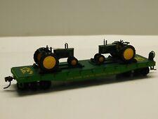 Ho Scale - John Deere General Purpose Tractors Flat Car Train w/ (2) Tractors