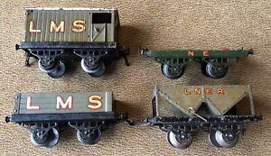 Hornby O Gauge 0 4 x 1920s Wagons: LMS Open & Brake, Timber, LNER Hopper.