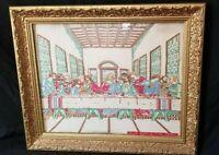 Vintage Jesus Last Supper Embroidery  Ornate Frame Art Stitch Needle Framed