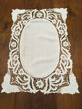"Antique Vintage Linen Center Embroidered and Open Lace Butterflies 22 "" x 32"""