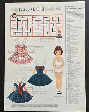 Vintage Betsy McCall Mag. Paper Dolls, Help Betsy McCall Find Doll, Nov. 1954