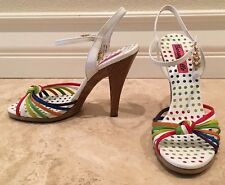 BETSEYVILLE White Rainbow Strappy Leather High Heels Toggles 7M Worn Once! Cute!