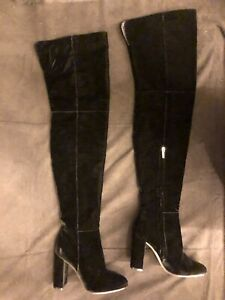 NEW Gianvito Rossi $1795 Velvet Over the Knee OTK Thigh Boots - 37-1/2; US 7.5
