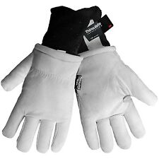 Mens Suede Goatskin Leather Work Gloves Fleece Lined Insulated Medium / Large