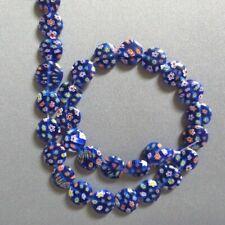"MILLEFIORI LAMPWORK GLASS BEADS BLUE COIN 12mm 15"""