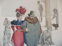 Simili Aquarelle L'oeuvre de Zola 1898 par H Lebourgeois La joie de vivre