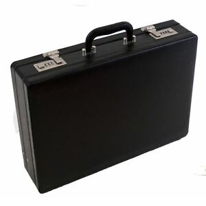 Professional Mens Leather Executive Black Briefcase with Combination Locks 6910