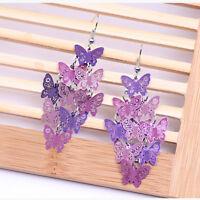 Women Unique Butterfly Dangle Chandelier Drop Earrings Ear Hook Jewelry HOT Gift