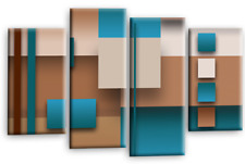 Large Abstract Art Picture Teal Beige Brown Rectangle Square Canvas Multi 44""