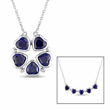 Amour Sterling Silver Created Blue Sapphire Flower Heart Necklace