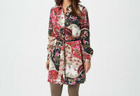 Susan Graver Regular Printed Stretch Charmeuse Duster Top XL $73