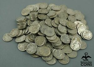 Lot of 200: 1925-P United States 5c Coins, Buffalo/Indian Head Nickels KM#134