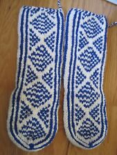 "Knitted Sock Boot Slipper Blue and White 17""x5"""