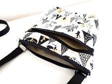 Black cat tree Double zip Cross body/Messenger/light weight/adjustable strap