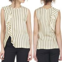 Sandro Bari Womens Ivory Vanille Sleeveless Round Neck Side Zip Blouse Size 1