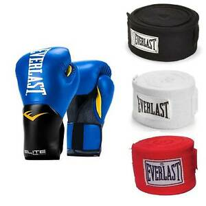 Everlast Blue Elite Pro Style Boxing Gloves 16 Oz & 120-Inch Hand Wraps (3 Pack)