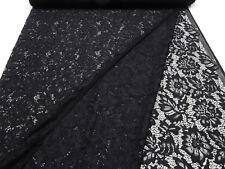Stoff Spitze Spitzenstoff mit Blumenmuster Blätter geblümt schwarz Kleiderstoff