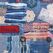 Denim Patchwork 100% Cotton Digital Print Craft Quilting Cushion Fabric
