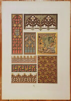 Antique Architectural Print: Design Ornamnet of the Middle Ages: by Racinet 1888