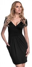 Glamour Empire. Women's Wrap V-neck Jersey Pencil Dress With Pockets M-2xl. 806 Black UK 14