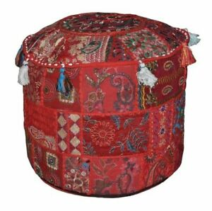 """22"""" Red Vintage Ottoman Pouf Cover Patchwork Footstool Indian Handmade Decorate"""