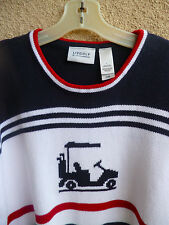 Liz Golf Sweater  Red White Blue Stripes & Golf Cart Knit in  Cotton  L
