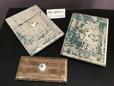 Chippy Paint White & Teal Drawer Faces Fronts Repurpose Upcycle Lot Of 3