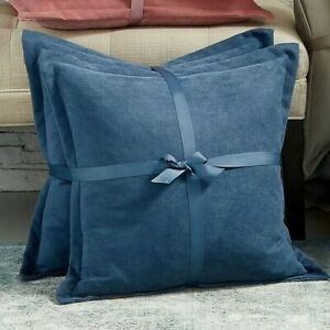 """NEW Lacourte Handcrafted Chenille Set of 2 Square 20"""" Decorative Pillow BLUE"""