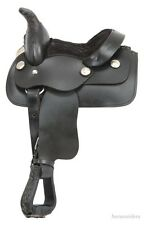 8 Inch Miniature Horse Western Saddle - Smooth Black Leather