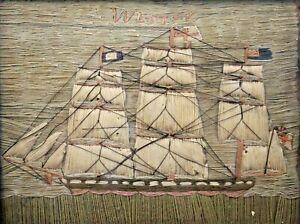 Antique English Sailor's WOOLIE Wool Folk Art Embroidery Clipper Ship WESTON